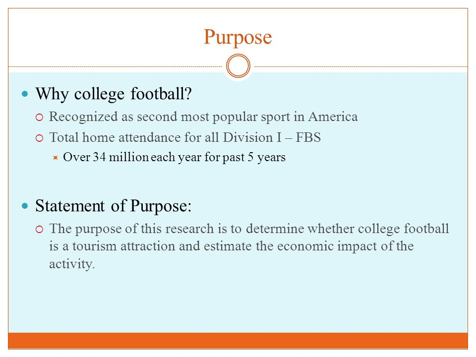 Purpose Why college football?  Recognized as second most popular sport in America  Total home attendance for all Division I – FBS  Over 34 million