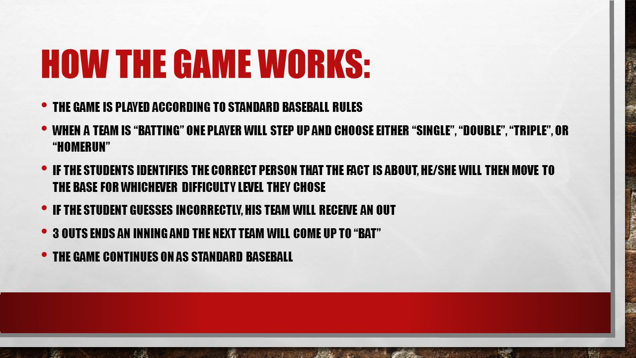 """HOW THE GAME WORKS: THE GAME IS PLAYED ACCORDING TO STANDARD BASEBALL RULES WHEN A TEAM IS """"BATTING"""" ONE PLAYER WILL STEP UP AND CHOOSE EITHER """"SINGLE"""