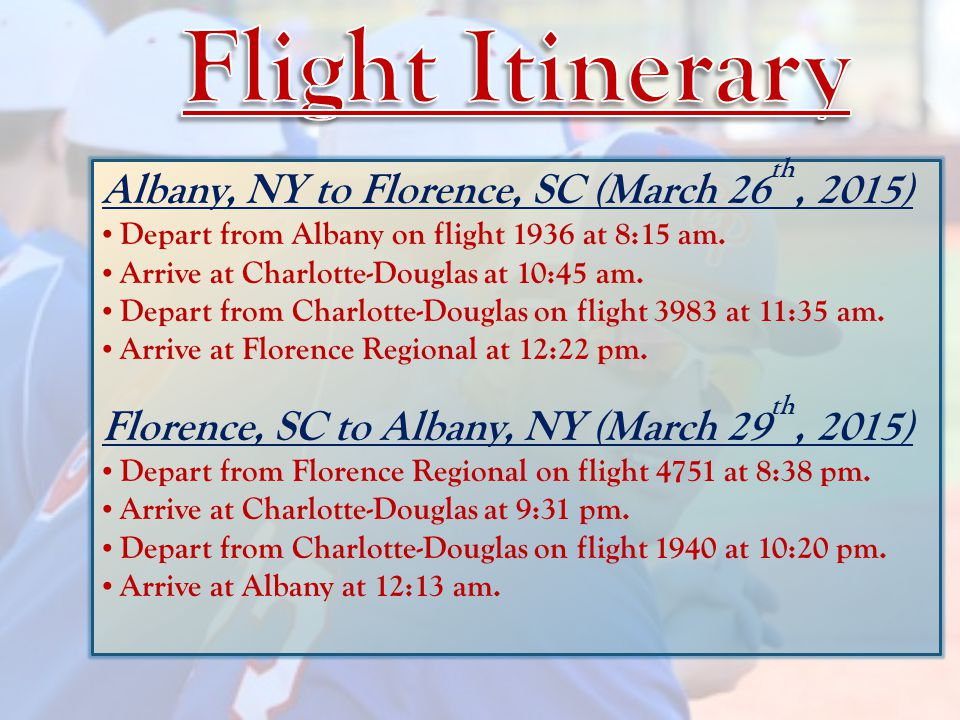 Albany, NY to Florence, SC (March 26 th, 2015) Depart from Albany on flight 1936 at 8:15 am.