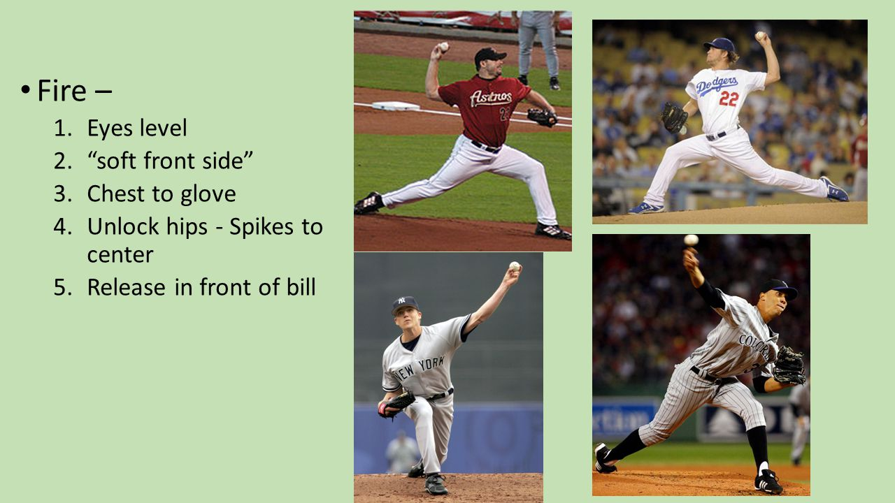 Fire – 1.Eyes level 2. soft front side 3.Chest to glove 4.Unlock hips - Spikes to center 5.Release in front of bill