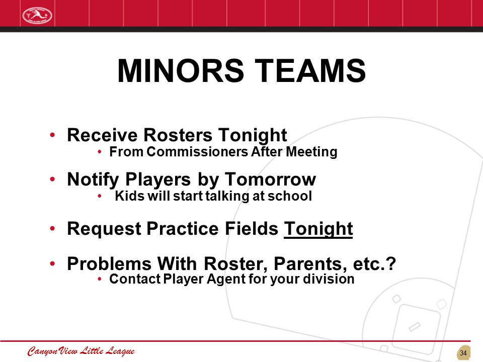 34 Canyon View Little League MINORS TEAMS Receive Rosters Tonight From Commissioners After Meeting Notify Players by Tomorrow Kids will start talking at school Request Practice Fields Tonight Problems With Roster, Parents, etc..