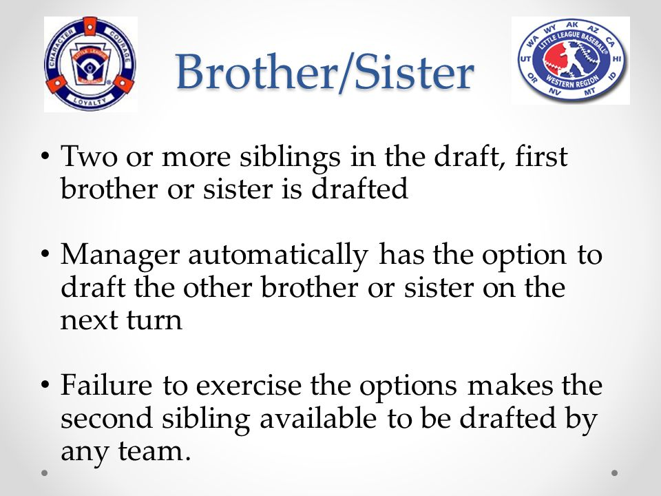 Brother/Sister on a Team Manager may submit an option on a draftee if the player candidate's brother or sister is a member of a manager's team.