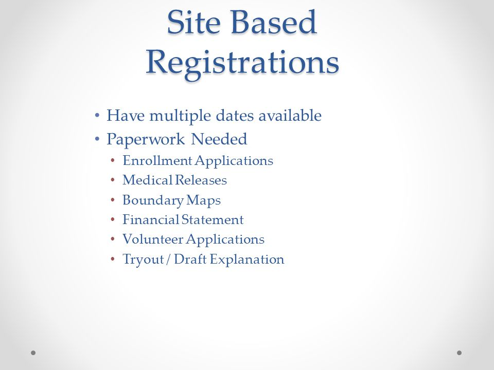 Site Based Registrations People Needed Hand out and explain Registration Forms Verify Proof of Age Verify Proof of Residency Verify and Complete Regulation II(d) Waiver if needed.