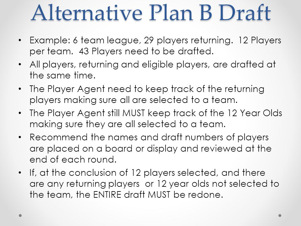 Tee-Ball and Minor Drafts Tee-Ball and Minor Drafts are conducted as outlined in the Plan B Draft method.