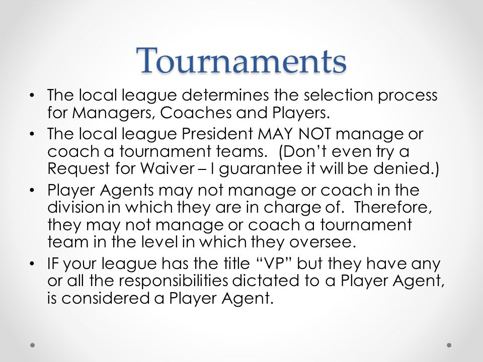 Tournaments Baseball o Tournament of Champions o 9-10 Year Olds o 10-11 Year Olds o Little League (Majors) (Note: There is no such thing as an 11-12 All Star team – it is the Little League All Star Team.