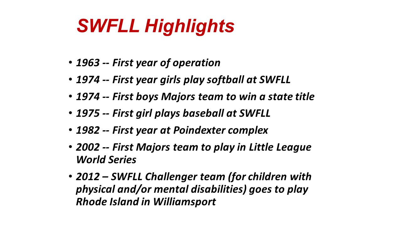 SWFLL Highlights 1963 -- First year of operation 1974 -- First year girls play softball at SWFLL 1974 -- First boys Majors team to win a state title 1