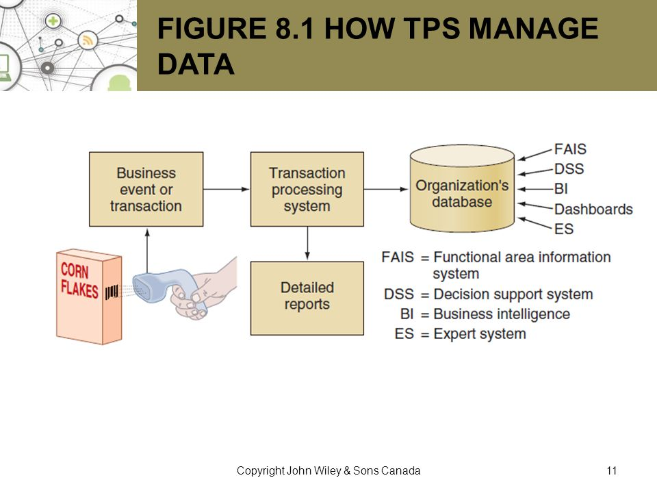 FIGURE 8.1 HOW TPS MANAGE DATA 11Copyright John Wiley & Sons Canada