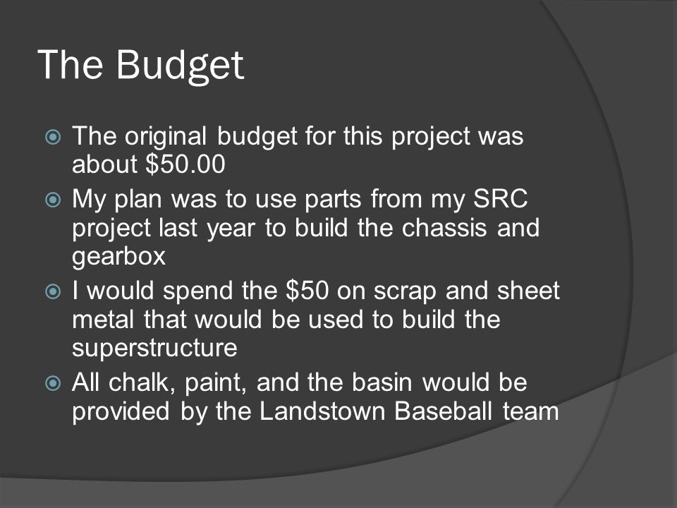 The Budget  Unfortunately, I had to wait until December to confirm whether or not I would be able to use the chassis  I was then informed that I could not  I then looked into potentially buying the parts myself