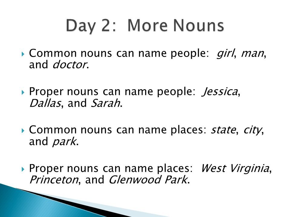  Common nouns can name people: girl, man, and doctor.
