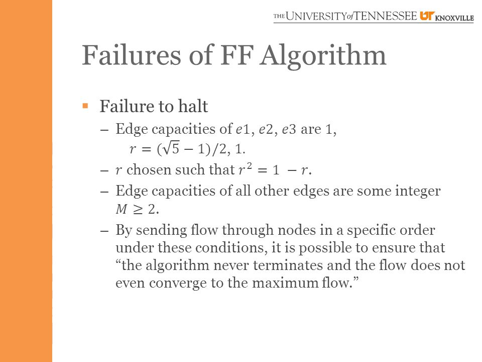 Failures of FF Algorithm