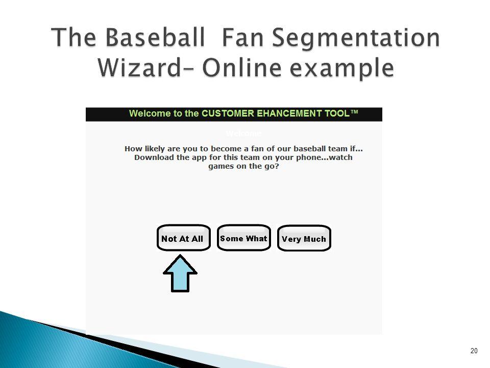 20 The Baseball Fan Segmentation Wizard– Online example