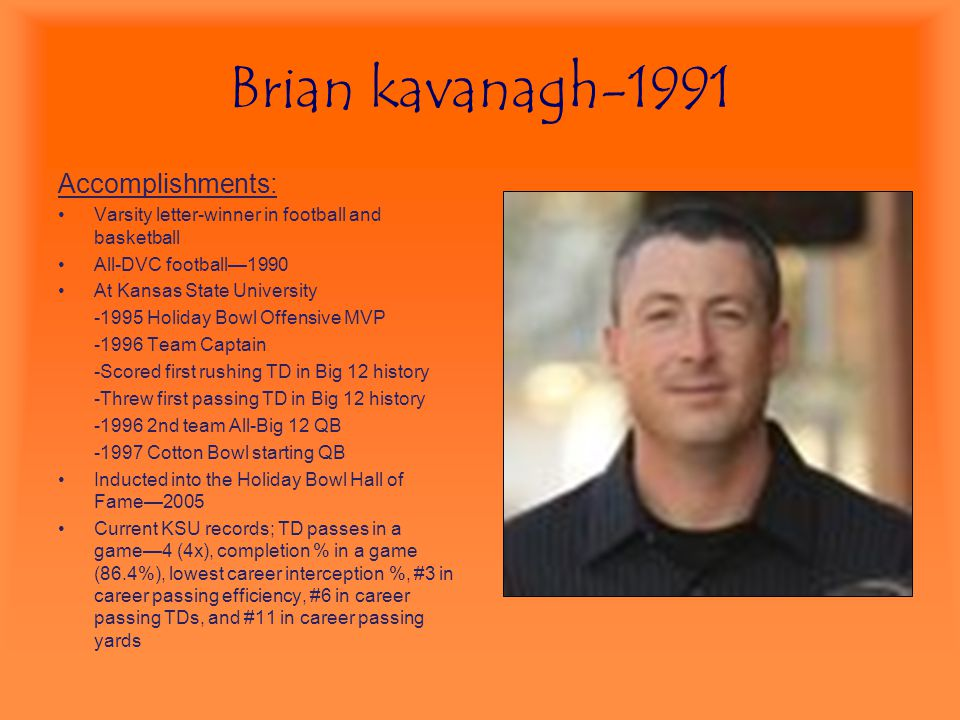Brian kavanagh-1991 Accomplishments: Varsity letter-winner in football and basketball All-DVC football—1990 At Kansas State University -1995 Holiday B
