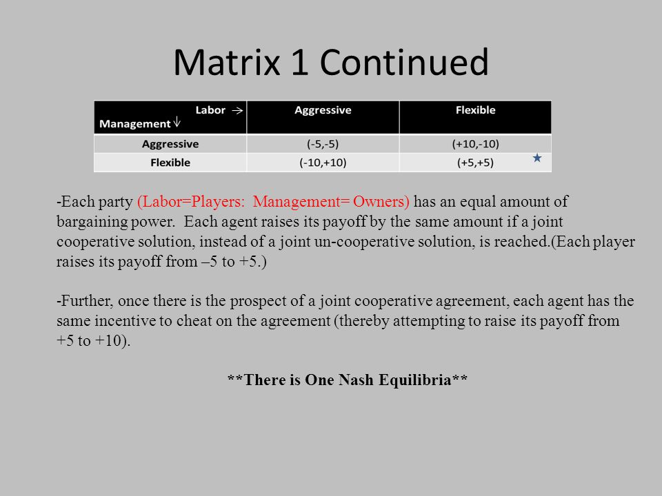 Matrix 1 Continued - Each party (Labor=Players: Management= Owners) has an equal amount of bargaining power.