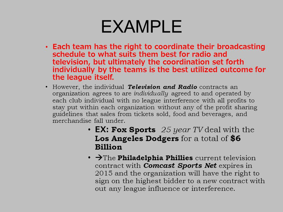 EXAMPLE Each team has the right to coordinate their broadcasting schedule to what suits them best for radio and television, but ultimately the coordination set forth individually by the teams is the best utilized outcome for the league itself.