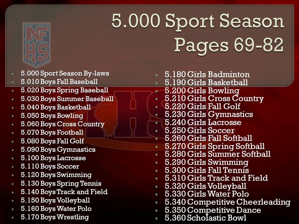  5.000 Sport Season By-laws  5.010 Boys Fall Baseball  5.020 Boys Spring Baseball  5.030 Boys Summer Baseball  5.040 Boys Basketball  5.050 Boys