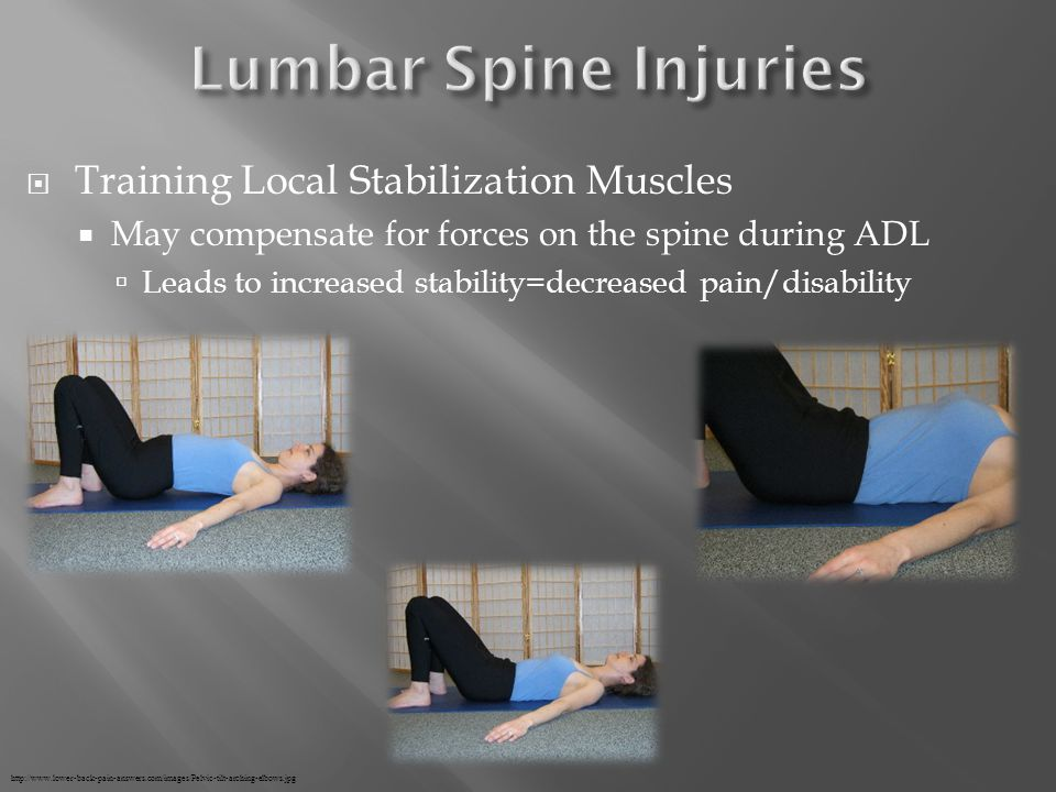  Training Local Stabilization Muscles  May compensate for forces on the spine during ADL  Leads to increased stability=decreased pain/disability http://www.lower-back-pain-answers.com/images/Pelvic-tilt-arching-elbows.jpg