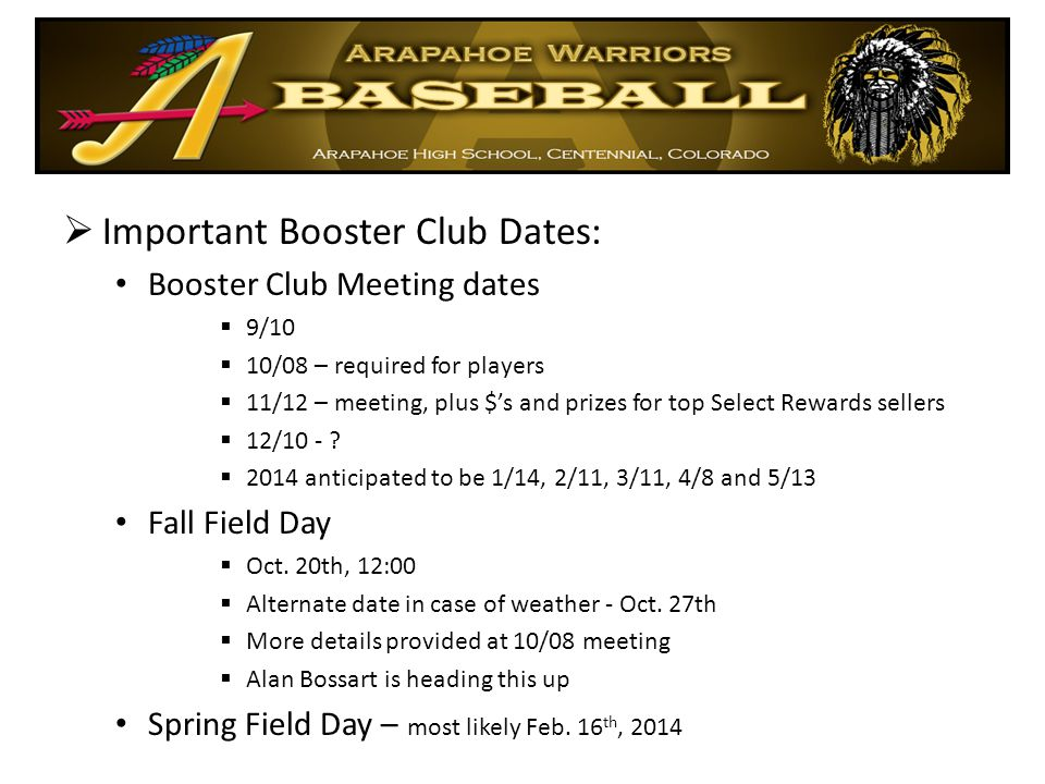 Important Booster Club Dates: Booster Club Meeting dates  9/10  10/08 – required for players  11/12 – meeting, plus $'s and prizes for top Select