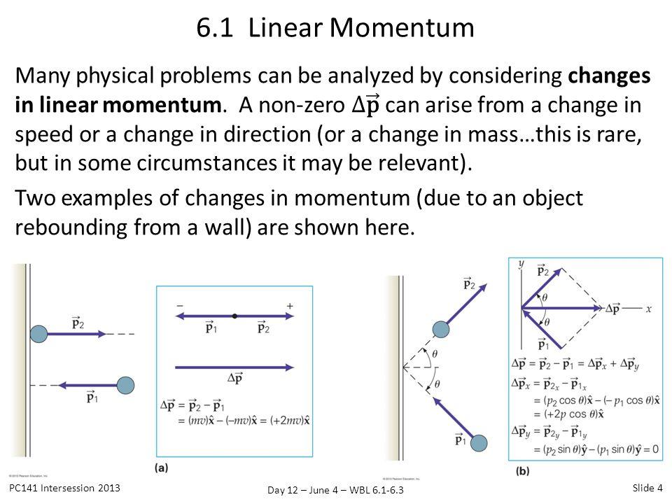 Day 12 – June 4 – WBL 6.1-6.3 6.1 Linear Momentum PC141 Intersession 2013Slide 4