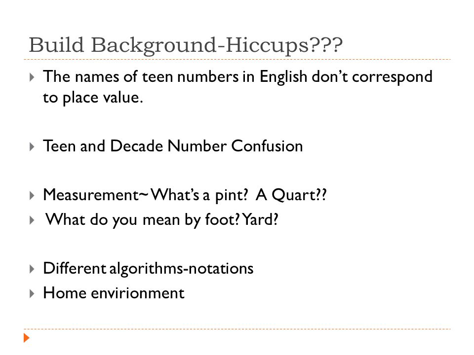 Build Background-Hiccups .  The names of teen numbers in English don't correspond to place value.