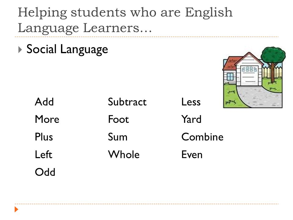 Helping students who are English Language Learners…  Social Language AddSubtractLess MoreFootYard PlusSumCombine LeftWholeEven Odd