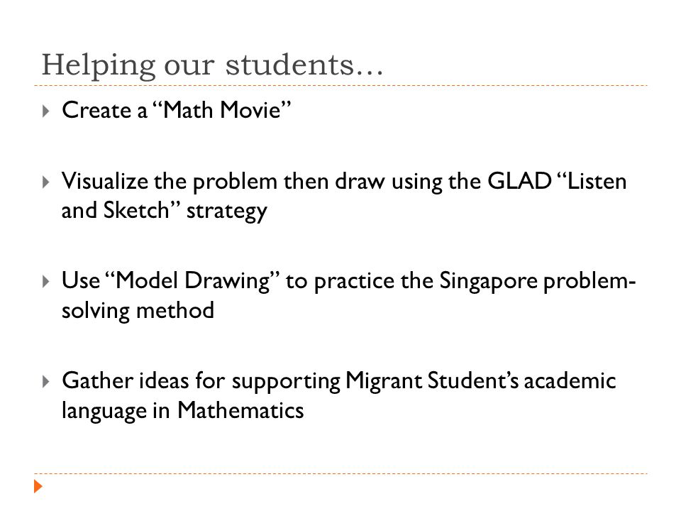 Helping our students…  Create a Math Movie  Visualize the problem then draw using the GLAD Listen and Sketch strategy  Use Model Drawing to practice the Singapore problem- solving method  Gather ideas for supporting Migrant Student's academic language in Mathematics