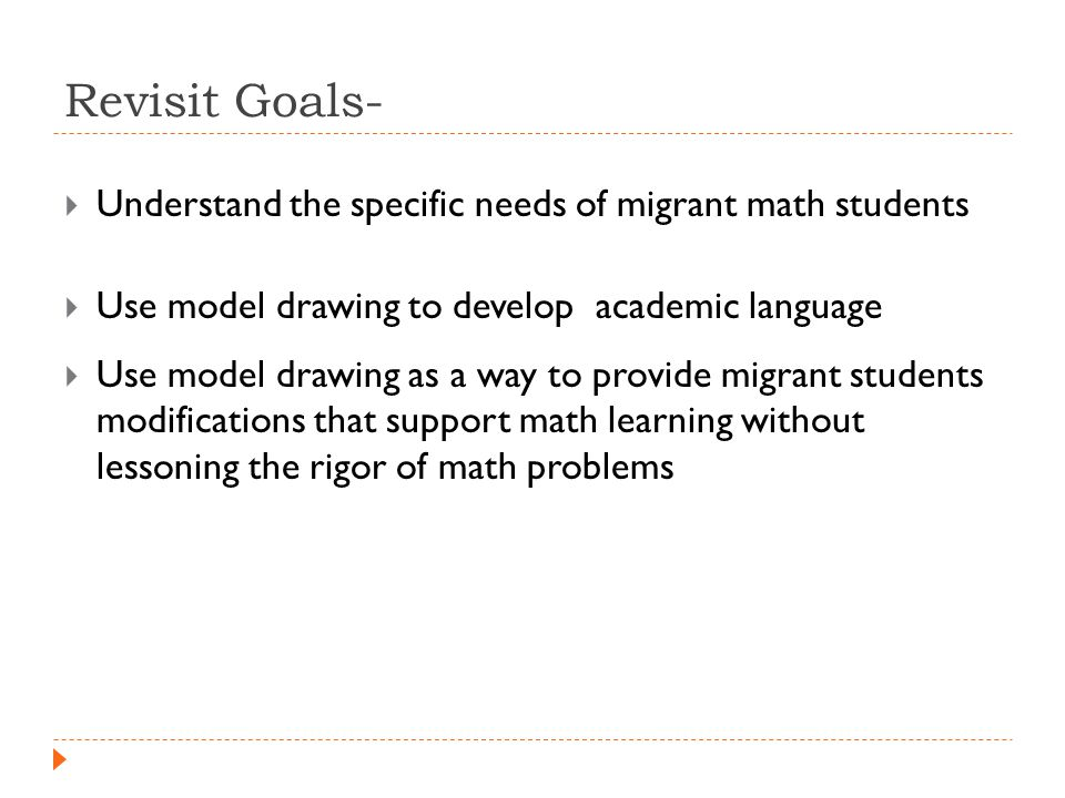 Revisit Goals-  Understand the specific needs of migrant math students  Use model drawing to develop academic language  Use model drawing as a way to provide migrant students modifications that support math learning without lessoning the rigor of math problems