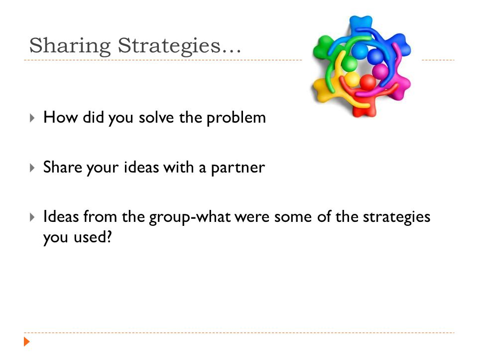 Sharing Strategies…  How did you solve the problem  Share your ideas with a partner  Ideas from the group-what were some of the strategies you used