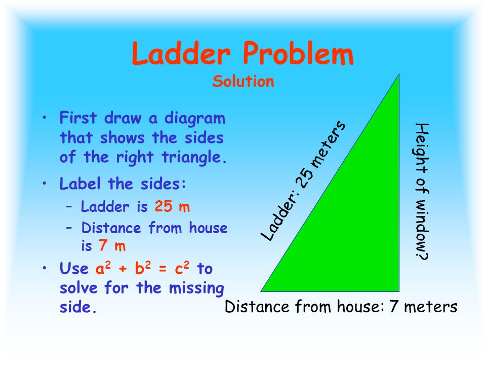 Ladder Problem A ladder leans against a second- story window of a house.