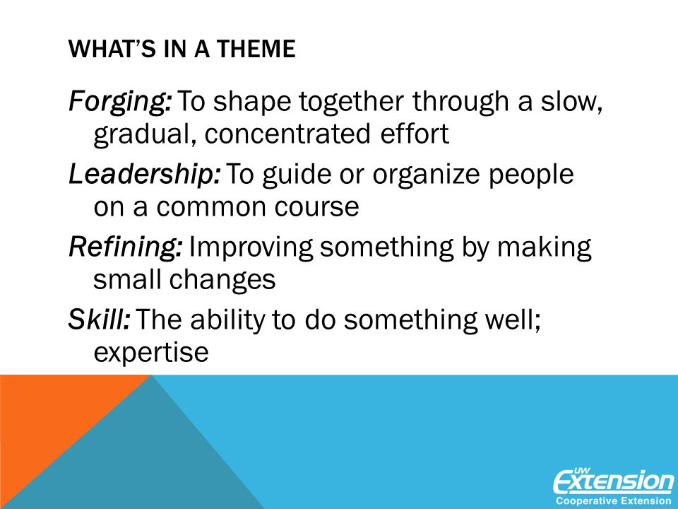 WHAT'S IN A THEME Forging: To shape together through a slow, gradual, concentrated effort Leadership: To guide or organize people on a common course Refining: Improving something by making small changes Skill: The ability to do something well; expertise