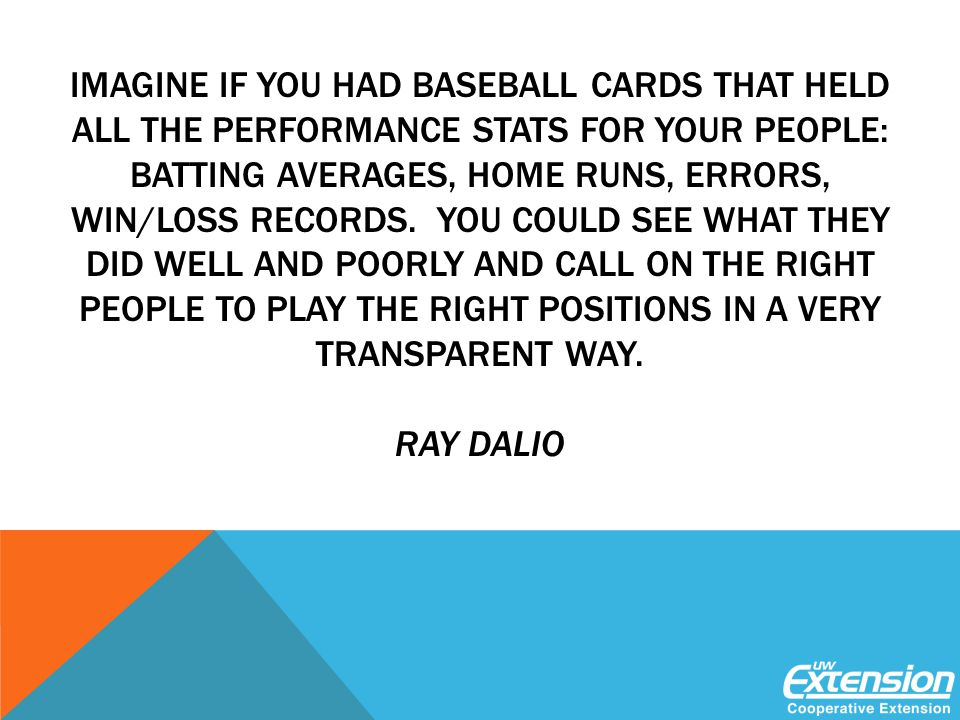 IMAGINE IF YOU HAD BASEBALL CARDS THAT HELD ALL THE PERFORMANCE STATS FOR YOUR PEOPLE: BATTING AVERAGES, HOME RUNS, ERRORS, WIN/LOSS RECORDS.