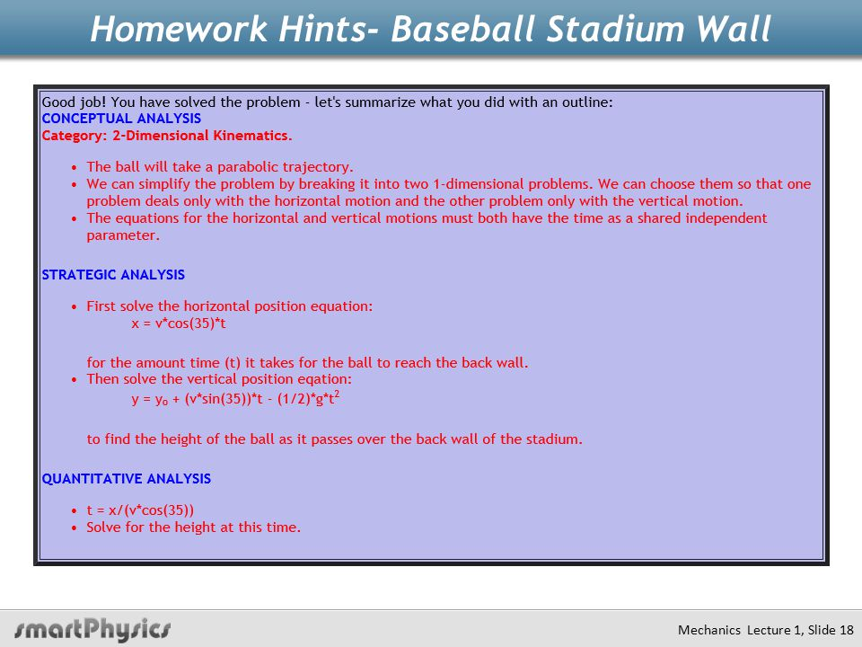 Homework Hints- Baseball Stadium Wall Mechanics Lecture 1, Slide 18