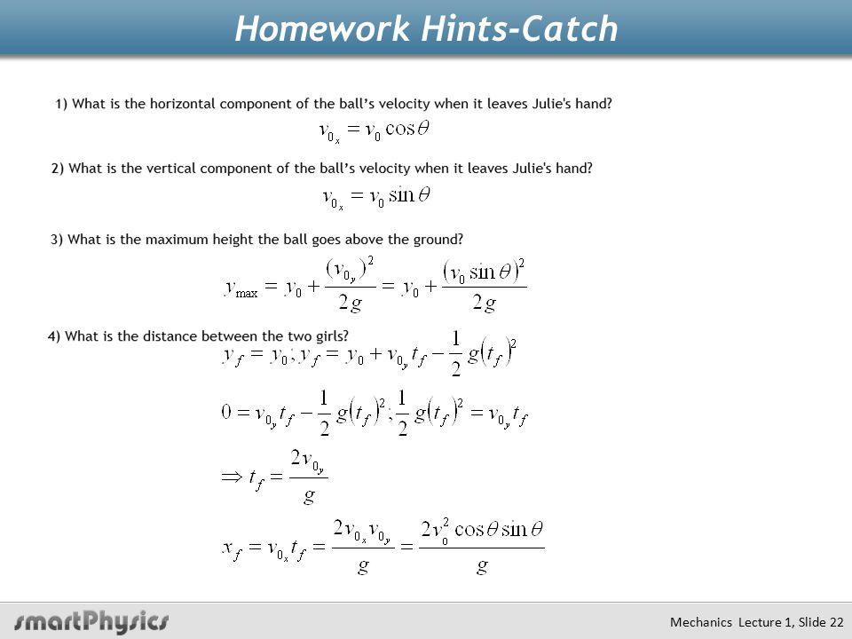 Homework Hints-Catch Mechanics Lecture 1, Slide 22