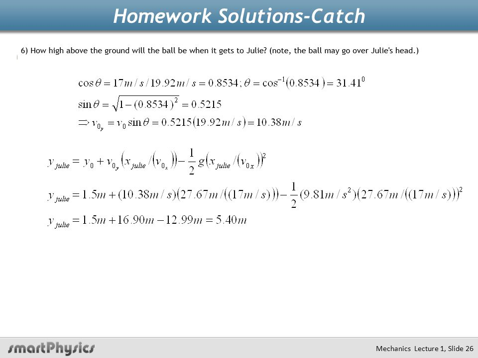 Homework Solutions-Catch Mechanics Lecture 1, Slide 26