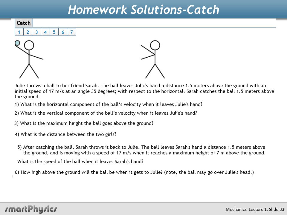 Homework Solutions-Catch Mechanics Lecture 1, Slide 33