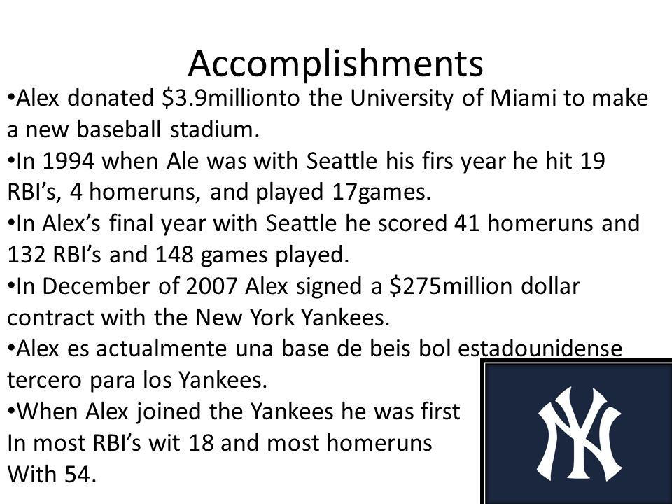 Alex is the first person from a Hispanic descent to hit the most homeruns right now with 642.