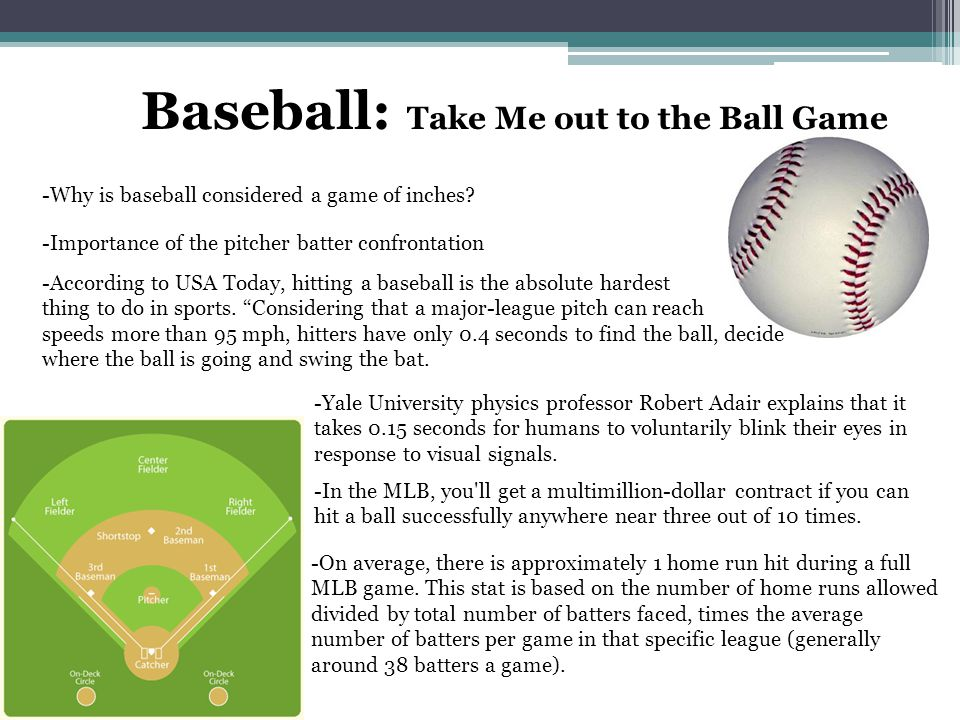 Baseball: Take Me out to the Ball Game -Why is baseball considered a game of inches.