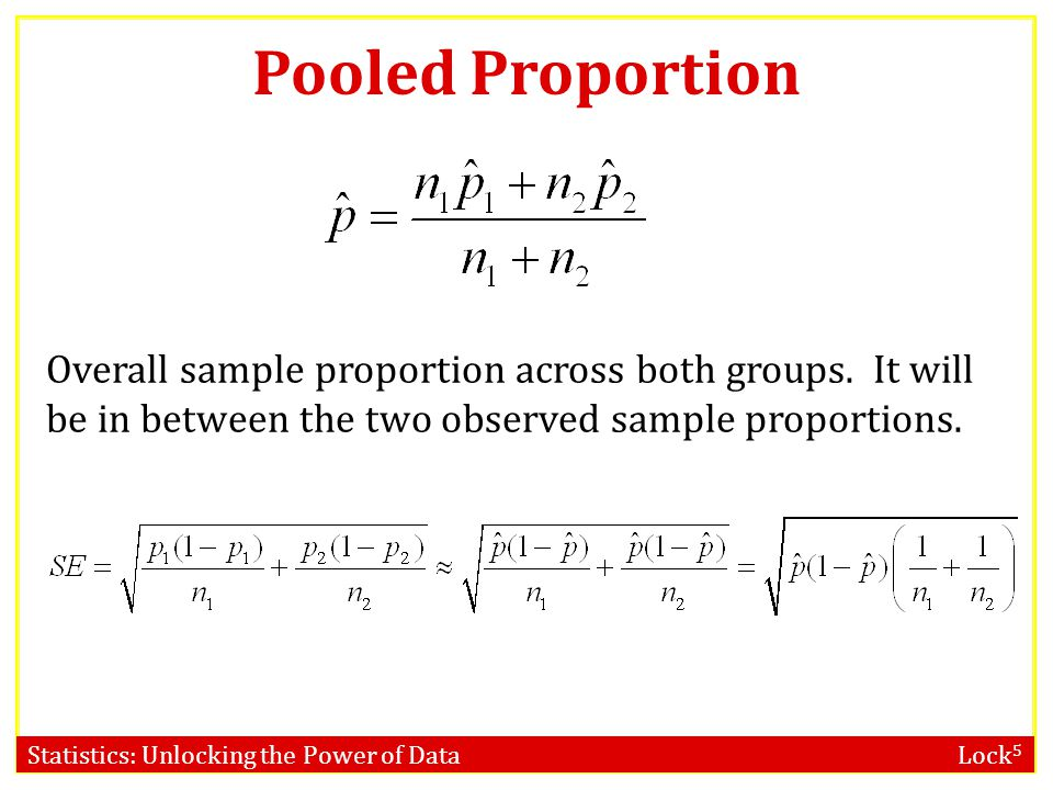 Statistics: Unlocking the Power of Data Lock 5 Pooled Proportion Overall sample proportion across both groups.