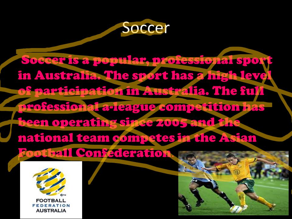 Soccer Soccer is a popular, professional sport in Australia.