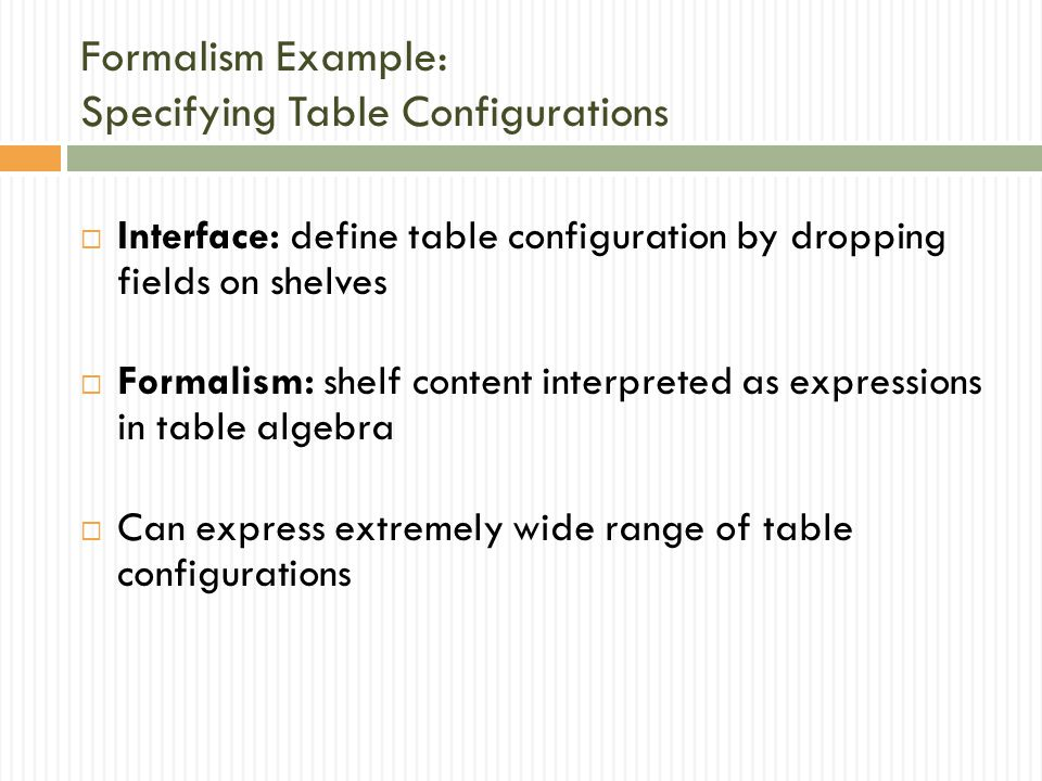 Formalism Example: Specifying Table Configurations  Interface: define table configuration by dropping fields on shelves  Formalism: shelf content interpreted as expressions in table algebra  Can express extremely wide range of table configurations