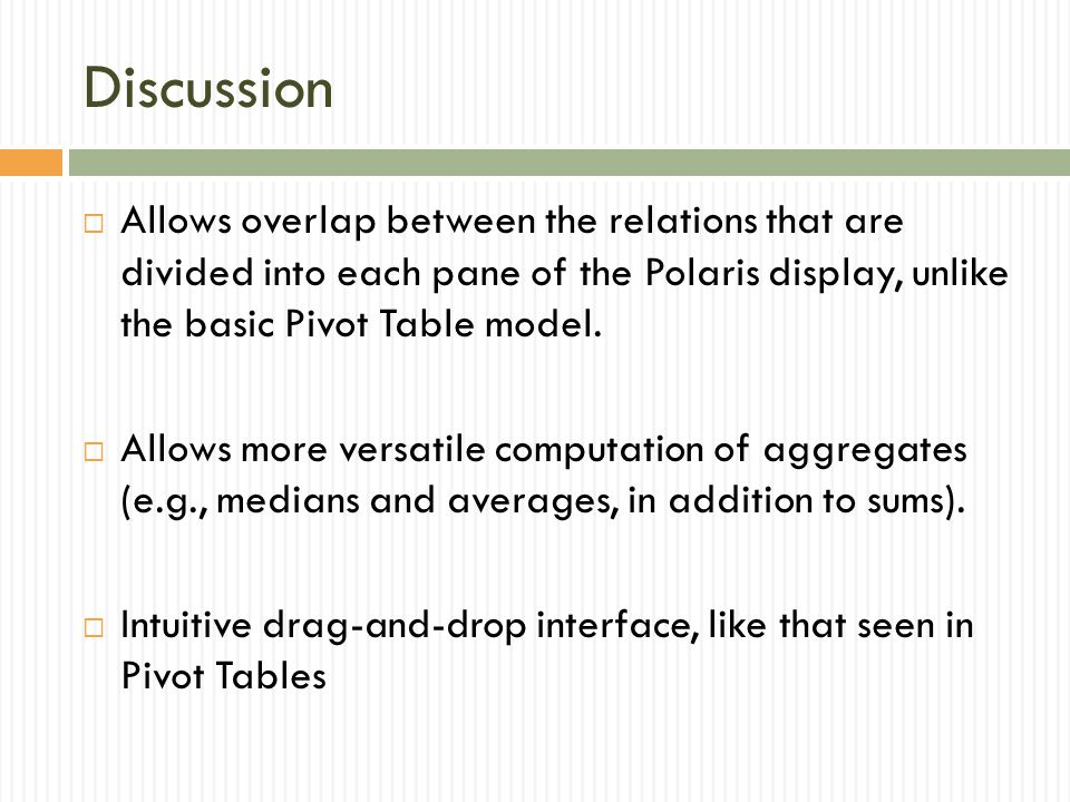 Discussion  Allows overlap between the relations that are divided into each pane of the Polaris display, unlike the basic Pivot Table model.