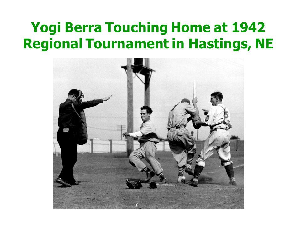 Yogi Berra Touching Home at 1942 Regional Tournament in Hastings, NE