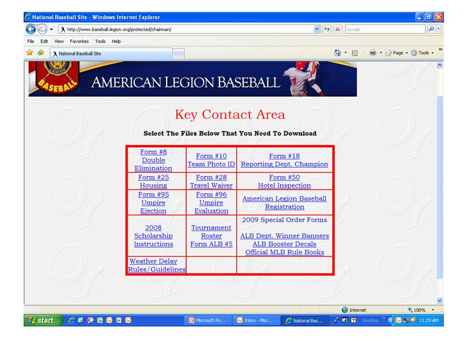 www.baseball.legion.orgwww.baseball.legion.org secured area Login: chairman Password: state