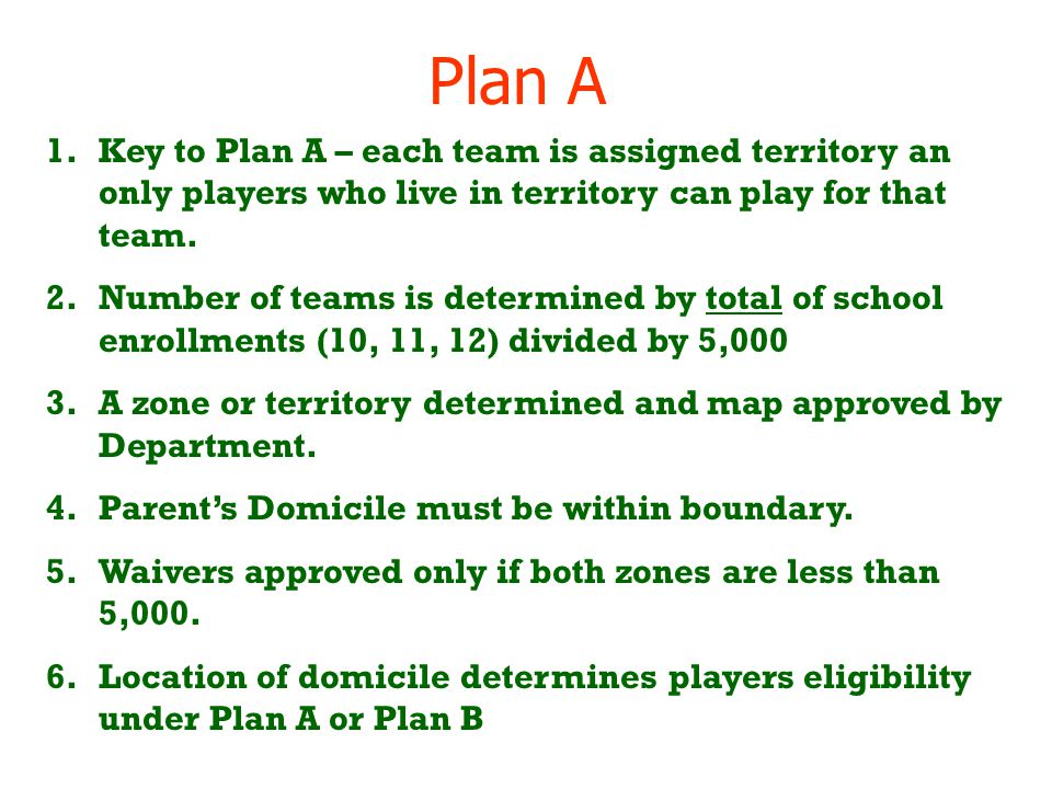 Plan A 1.Key to Plan A – each team is assigned territory an only players who live in territory can play for that team. 2.Number of teams is determined