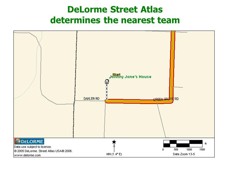 DeLorme Street Atlas determines the nearest team