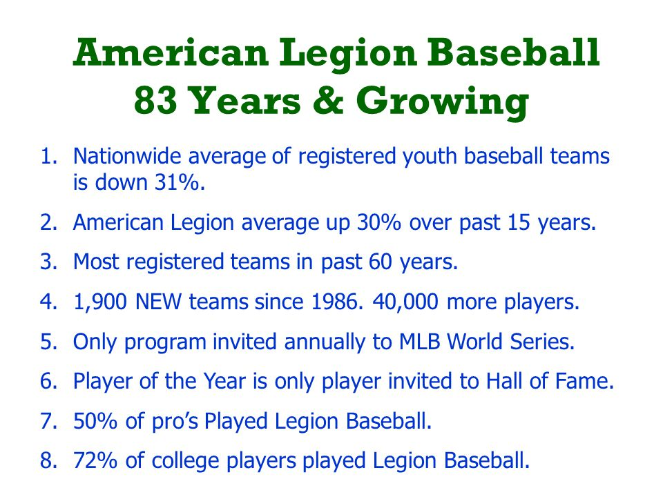 American Legion Baseball 83 Years & Growing 1.Nationwide average of registered youth baseball teams is down 31%. 2.American Legion average up 30% over