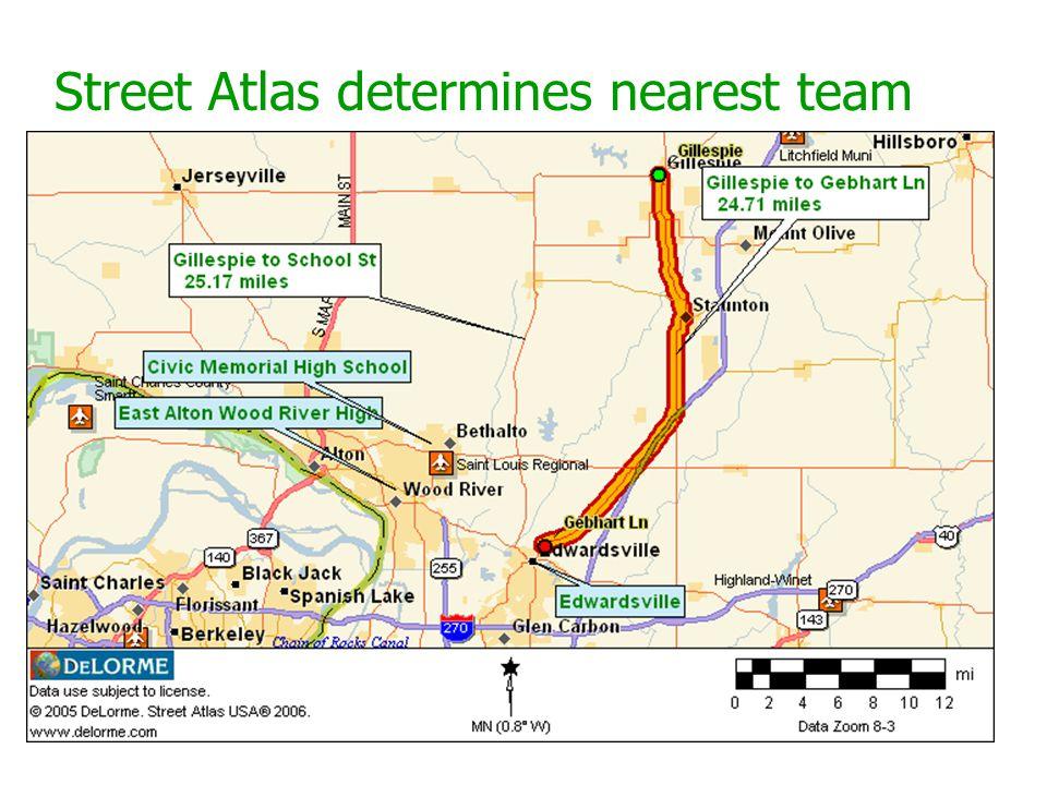 Street Atlas determines nearest team
