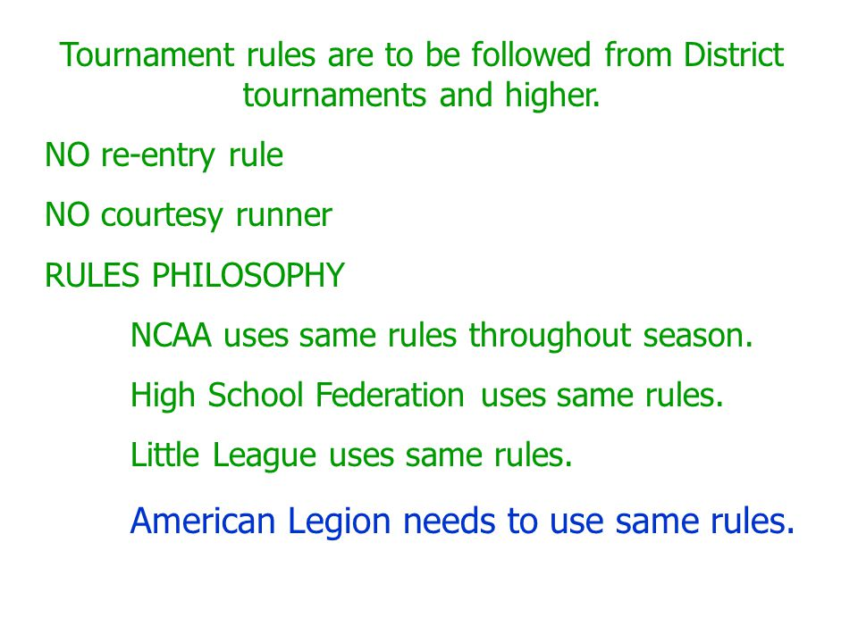 Tournament rules are to be followed from District tournaments and higher.