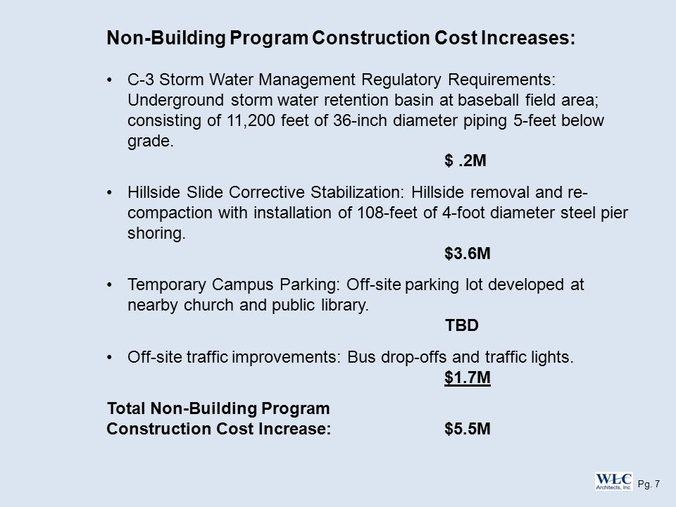 Non-Building Program Construction Cost Increases: C-3 Storm Water Management Regulatory Requirements: Underground storm water retention basin at baseball field area; consisting of 11,200 feet of 36-inch diameter piping 5-feet below grade.