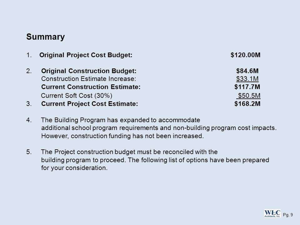 Summary 1. Original Project Cost Budget: $120.00M 2.