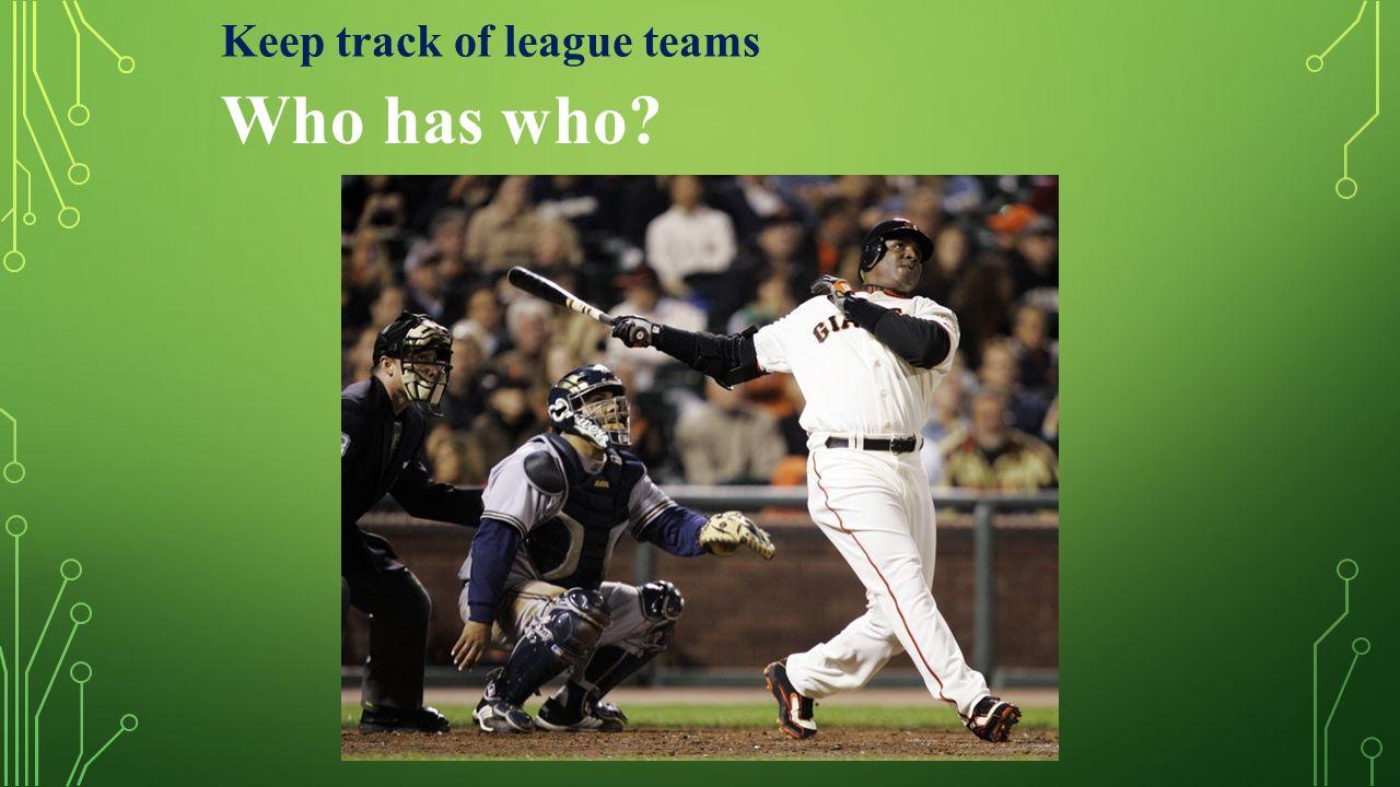 Keep track of league teams Who has who?